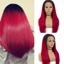 Ombre Burgundy Long Straight Lace Front Human Hair Wigs Brazilian Remy13X4 Lace Frontal Wigs Red Brown Bob Lace Wigs EUPHORIA(Китай)