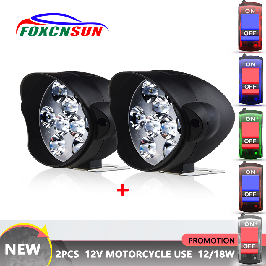 Motorcycle Headlight Scooters-Spotlight Fog-Lamp Led-Working White 2pcs 6500k 1800LM title=