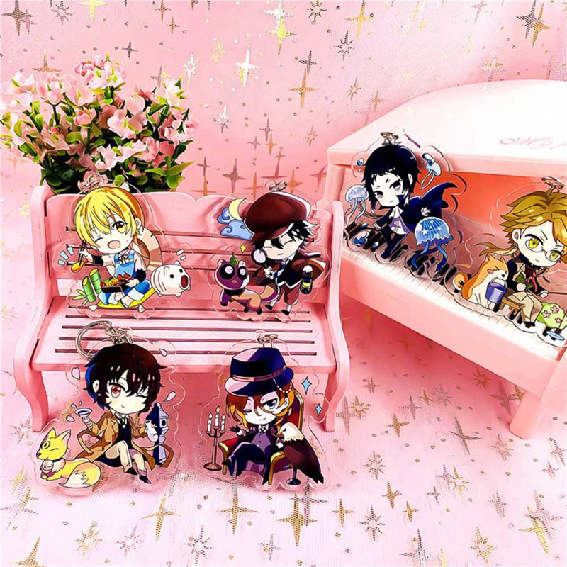 Bungou Stray Dogs Key Chain Anime Rubber Strap Keychains Tsumamarekko Dazai Atsushi Ranpo Akutagawa Chuya