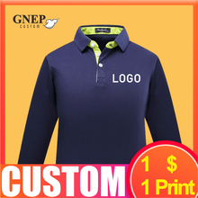 Men's Long-Sleeved Polo Shirts Custom Autumn Warm Bottoming Shirt Fashion Tops Comfortable Embroidered Logo GNEP2020 New