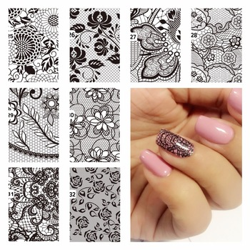 ZKO DIY Nail Water Decals Lace Flower Designs Transfer Stickers Nail Art Sticker Tattoo Decals