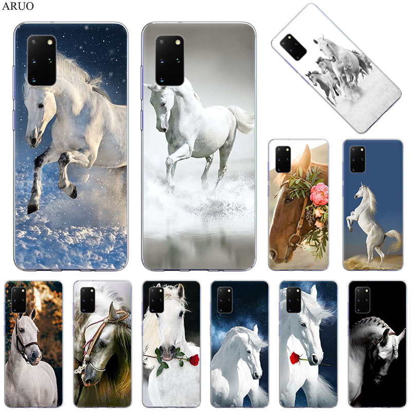 Phone Case For Samsung S20 Ultra S10 Lite S9 S8 Running Horse Floral Cover for Samsung Note 20 10 Pro 9 8 Soft Silicone Cases