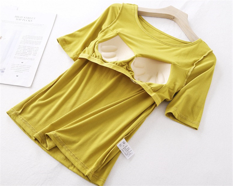 Summer Padded Pajamas Set for Women T Shirt Shorts Home Clothes Female Pajamas Set Home Summer Loose Modal Padded Homewear Suit