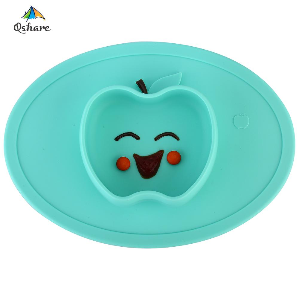 Silicone Cartoon Duck Plates Divided Baby Toddler Non Slip Suction Grip Dish