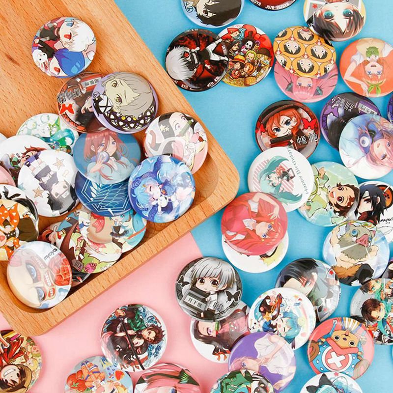 8PCS/Lot Anime Demon Slayer: Kimetsu no Yaiba Cosplay Badge Boku No Hero Academia Pins Bags Badges For Backpacks