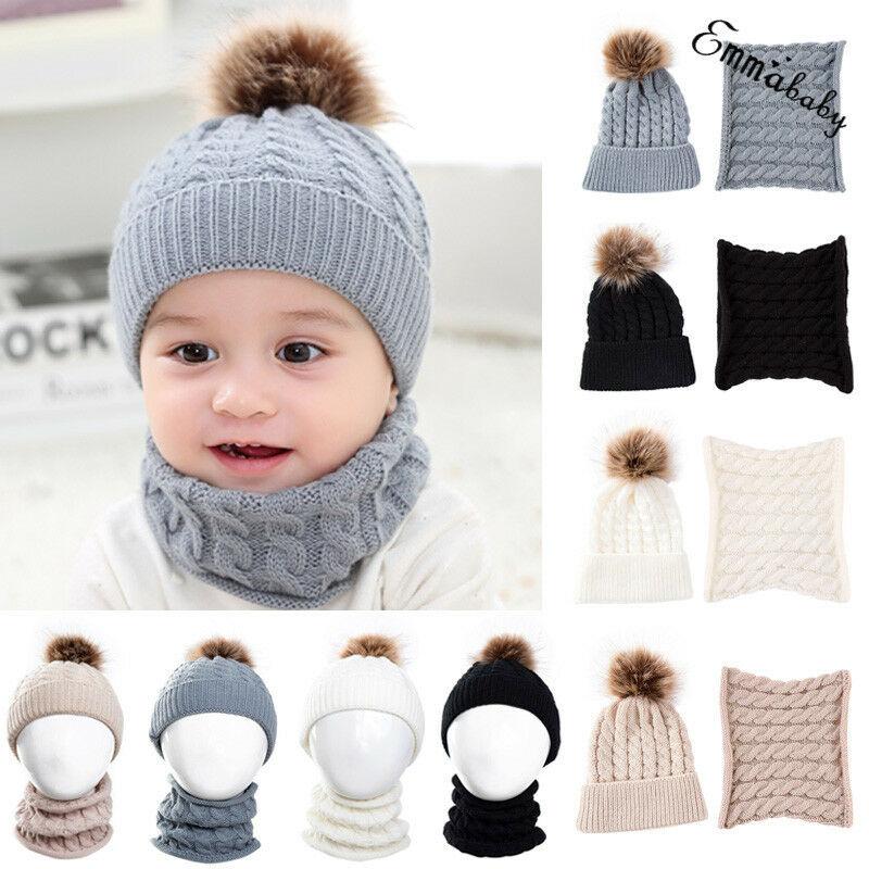 2PCS Children Baby Kid Boy Girl Winter Warm Cap Fur Pom Knitted Beanie Hat+Scarf