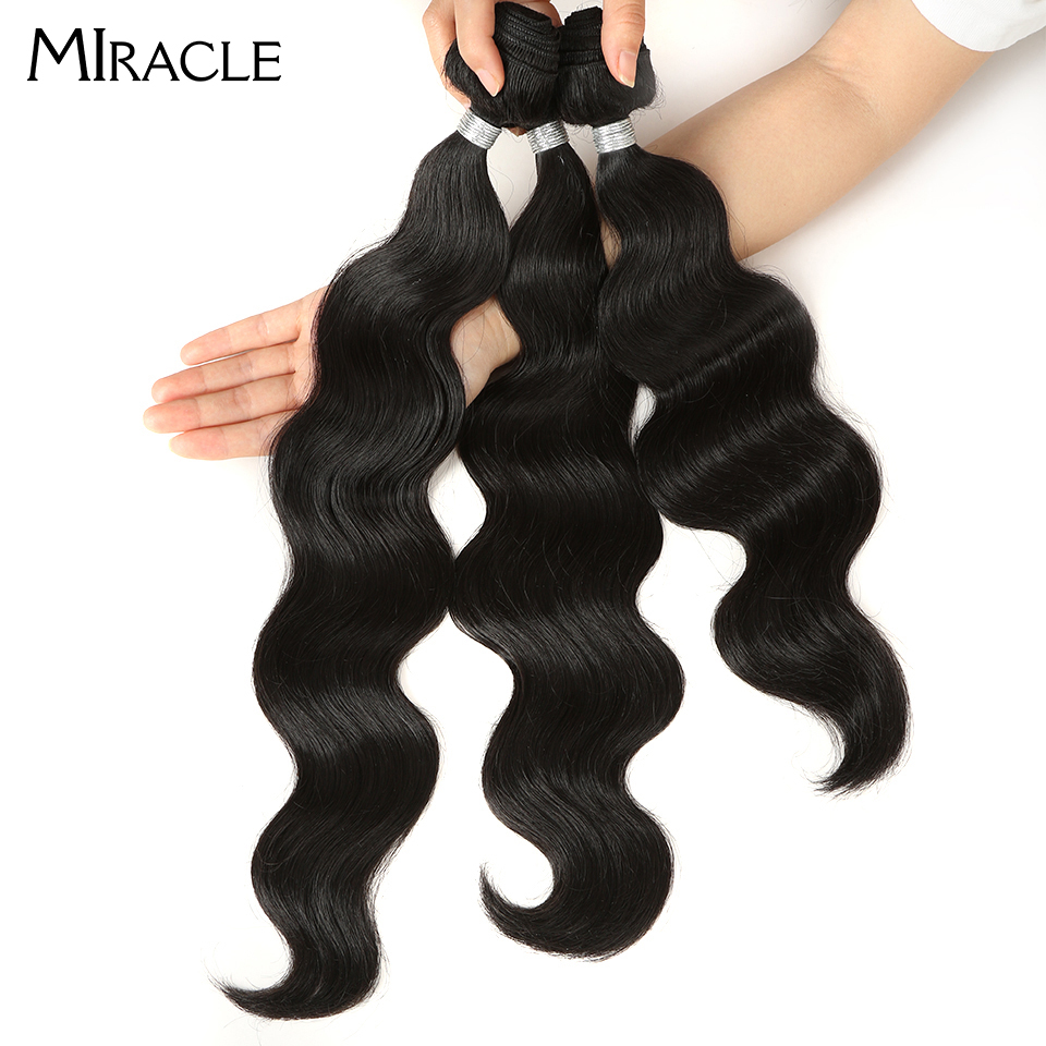 Miracle 3bundles/pack Women Natural Hair Weaving Body Wavy Hair Extensions Weft Heat Resistance Synthetic Hair Weave 16-20inch title=
