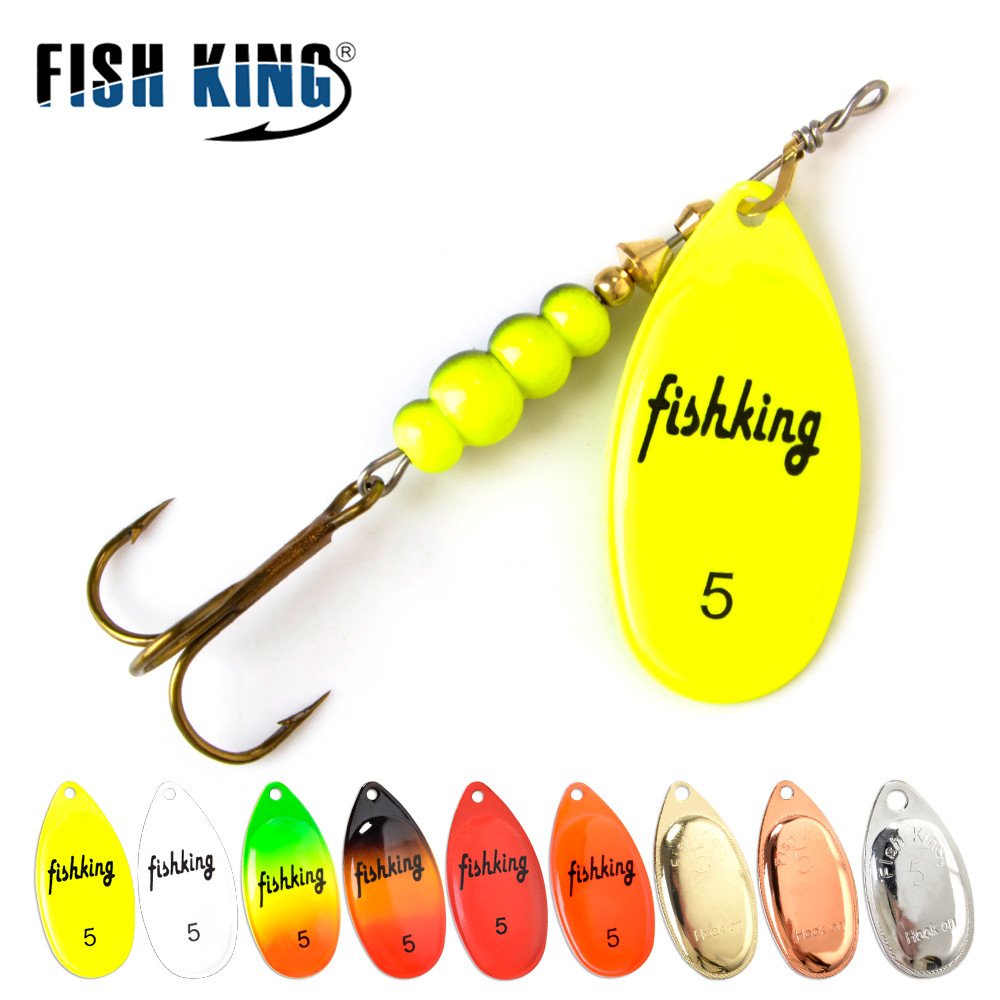 FISH KING Spinner Bait 3.9g 4.6g 7.4g 10.8g 15g Spoon Lures pike Metal With Treble Hooks Arttificial Bass Bait Fishing Lure title=