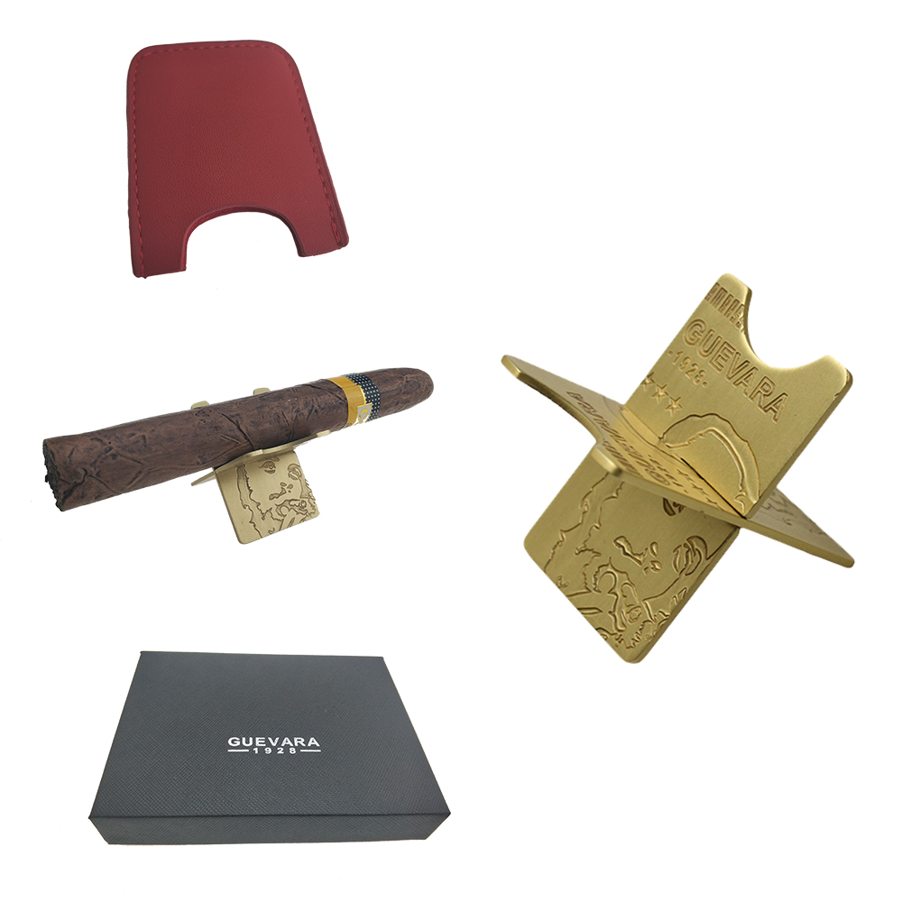 Carbon Fiber /& Copper Cigar Gift Set Ashtray 3 Holder Stand With Punch Cohiba