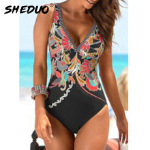 One-Piece Swimsuit Monokini Swim-Wear Shoulder Ruffle Push-Up Sexy Women Adjustable
