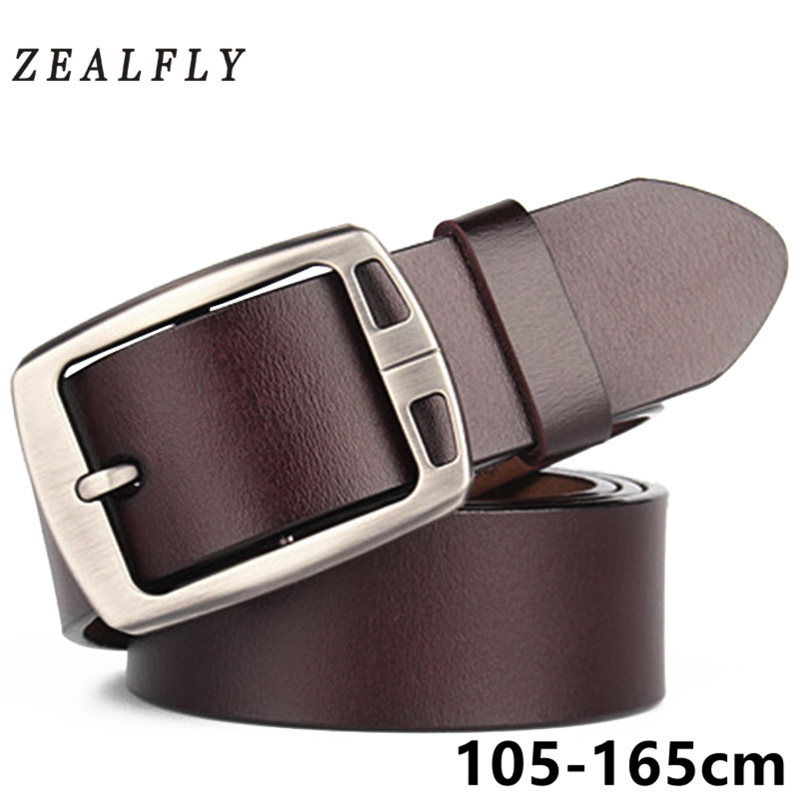 Genuine Leather Men Jeans Belt Strap Pin High Quality Vintage Cowboy Buckle