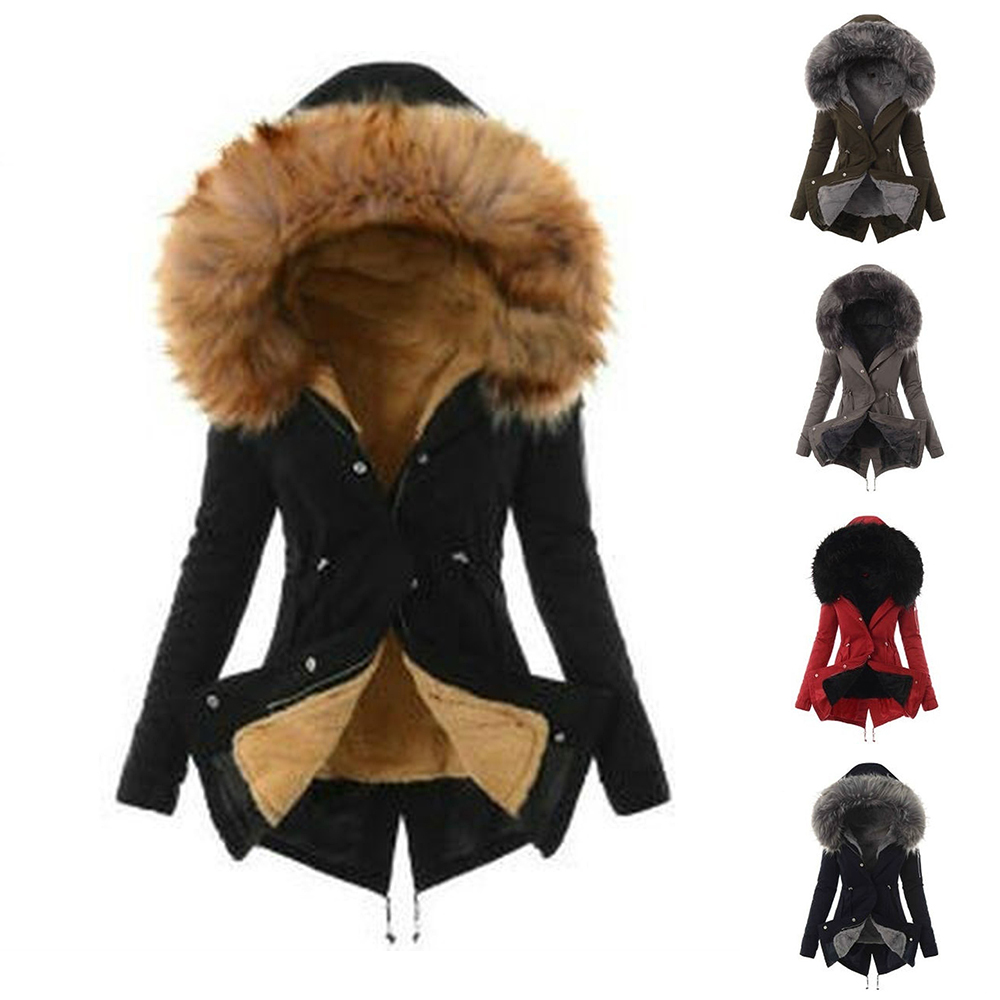 LITTHING 2019 Autumn Winter Women Parkas European Fashion Solid Hooded Jacket Casual Loose Long Sleeve Cotton Padded Coat S-3XL