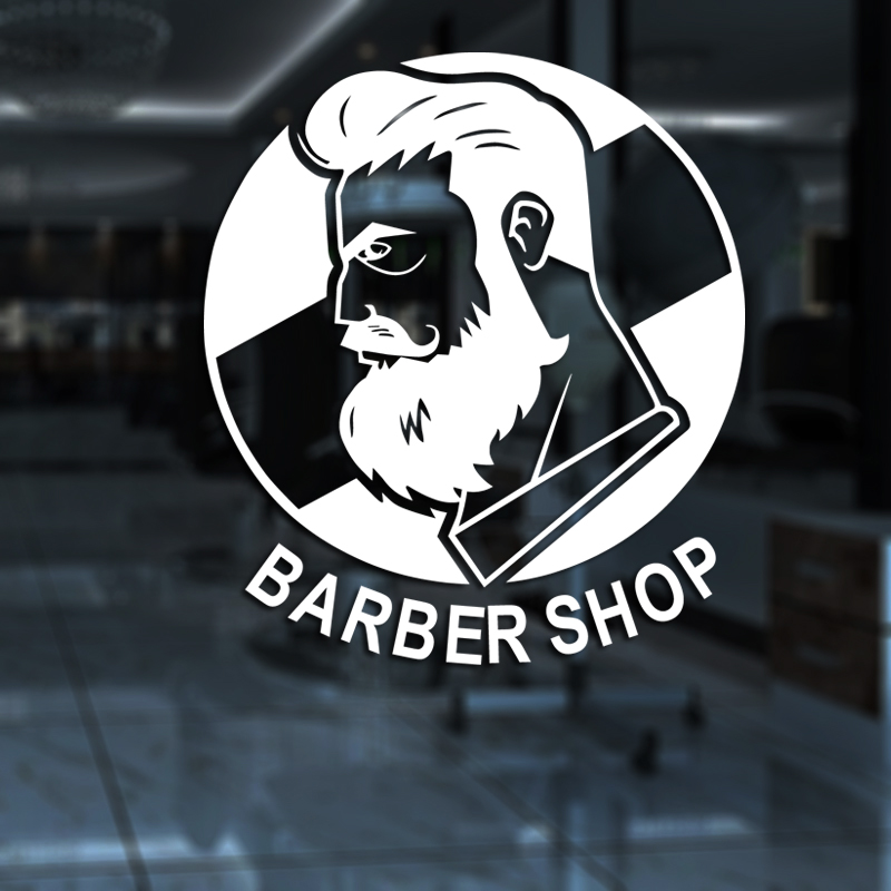 Man Barber Shop Sticker Name Chop Bread Decal Haircut Posters Vinyl Wall Art Decals Decor Windows Decoration Mural