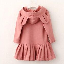 Платье для девочек bear leader, новая брендовая блузка для маленьких девочек с кроличьими ушками и капюшоном, с длинными рукавами и рюшами, детск...