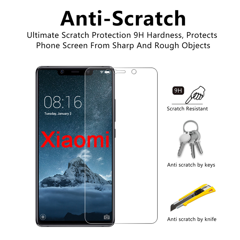 2pcs 9H Screen Protector for Xiaomi Mi A2 Lite A1 4S 4C 4i 3 2 HD Hard Protective Glass Tempered Glass For Xiomi mi Pocophone F1