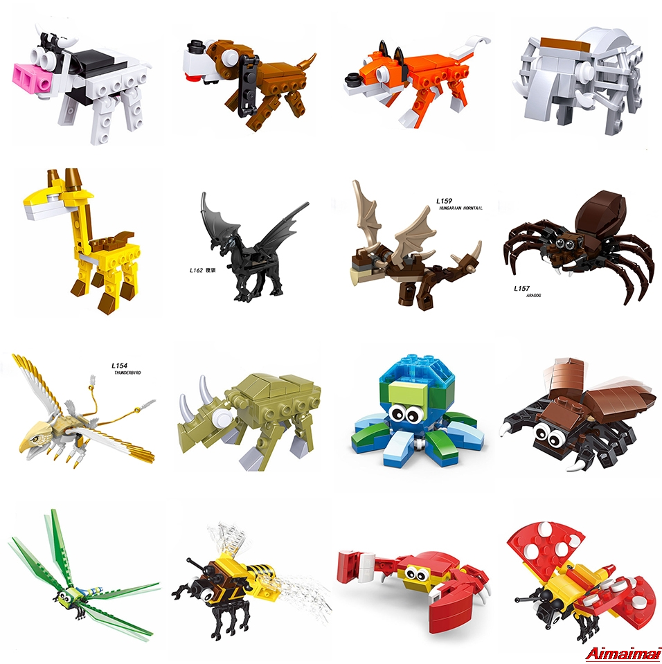Legoing Animals Duplo Farm Set Dinosaurs Spider Tiger Giraffe Jurassic World Insect Beast Birds Camel Wolf Model Toys Bricks Zoo