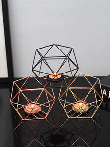 Candle-Holders Craft Iron-Candlestick Geometric Romantic Home-Decoration Wedding Nordic-Style