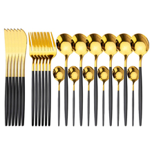 24pcs Cutlery Stainless Steel tableware Set Black Gold Spoon set Fork Knife Western Silverware Dinnerware Set Supplies