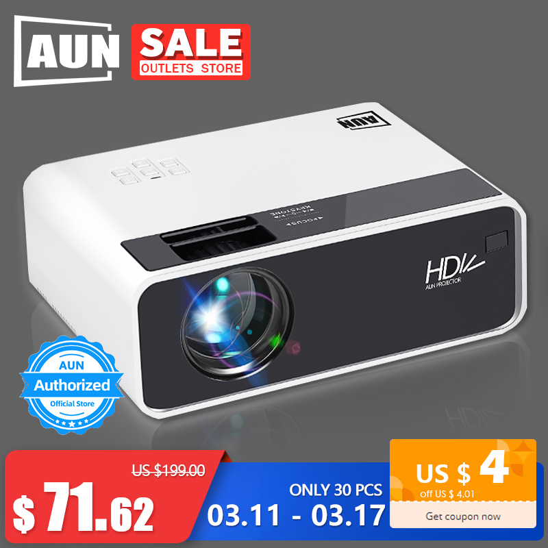 AUN HD Projector D60 | 1280x720 Resolution MINI 3D LED Video Projector for Full HD Home Cinema.HDMI (Optional Android WIFI D60S)