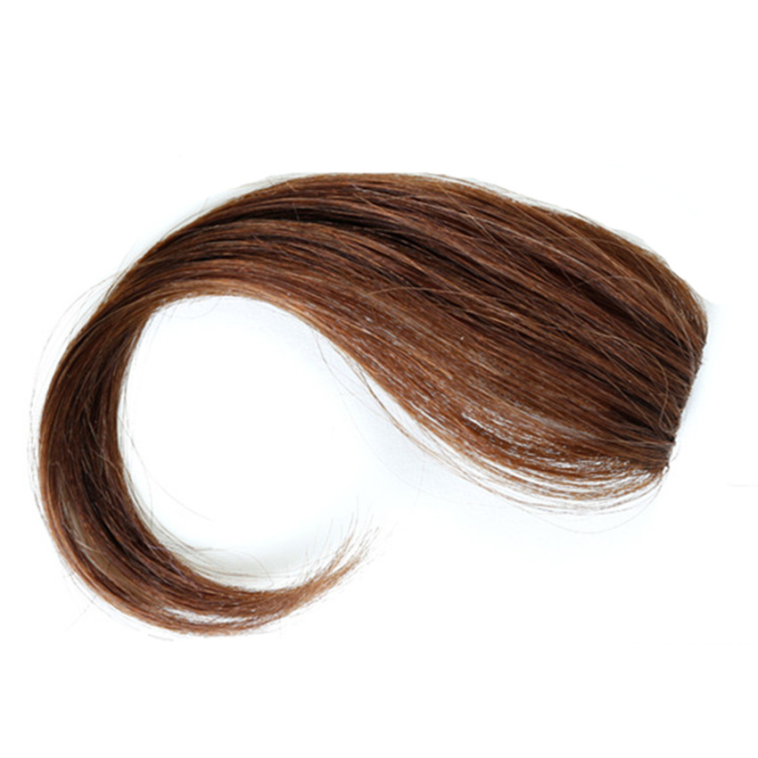 Halo Lady Beauty S Side Bangs Peruvian Real Human Hair Clip In Bangs Fringe Hair Extensions Hairpieces Non-remy Light Brown