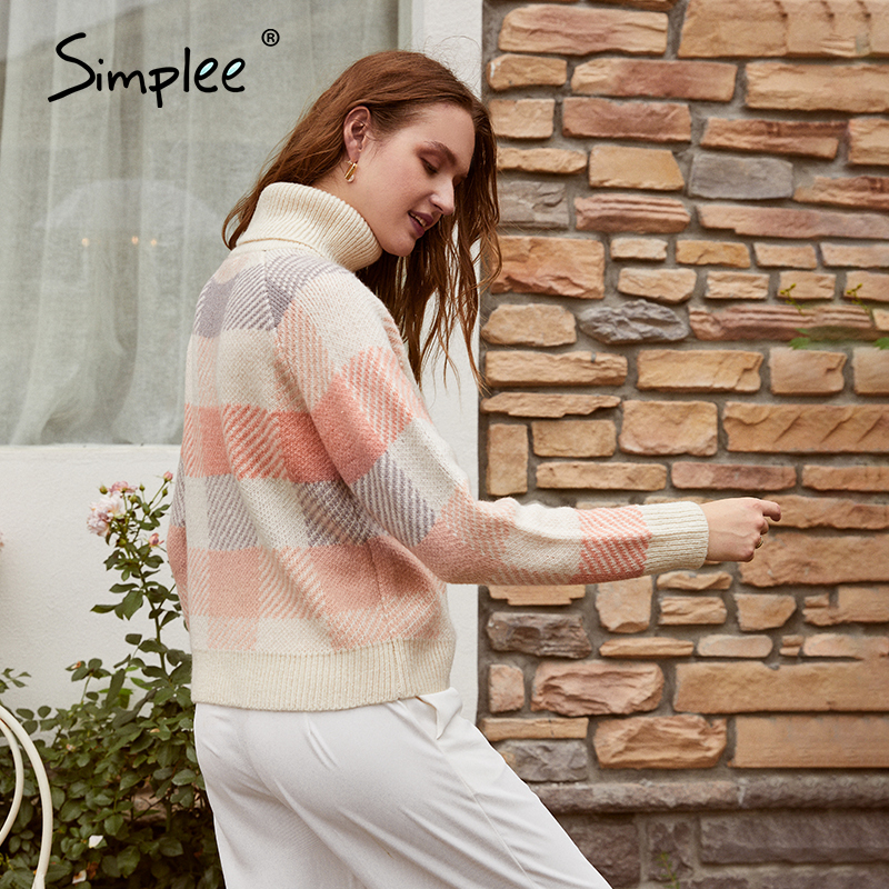 Simplee Casual turtleneck plaid women sweater Autumn winter long sleeve knitted sweater female Streetwear ladies pullover jumper