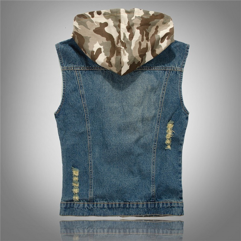 2020 Spring Brand Hot Sale Slim Fit Hooded Camouflage Hole Male Denim Vests Male Cow Boy Sleeveless Jackets Waistcoat Zipper Fly