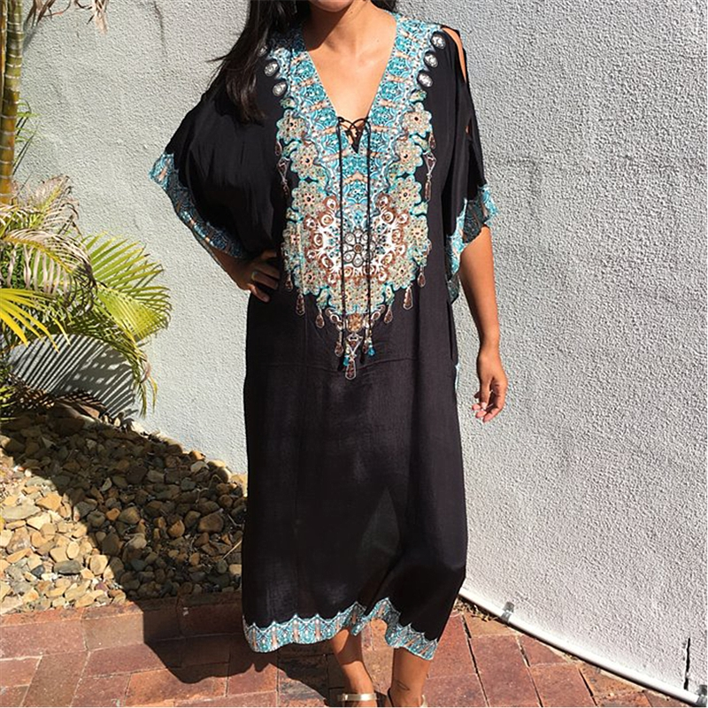 Swimwear Tunic Cover Pareo Sarongs Kaftan Boho Bikini Beach-Dress Sexy Ups Q910 Quick-Drying title=