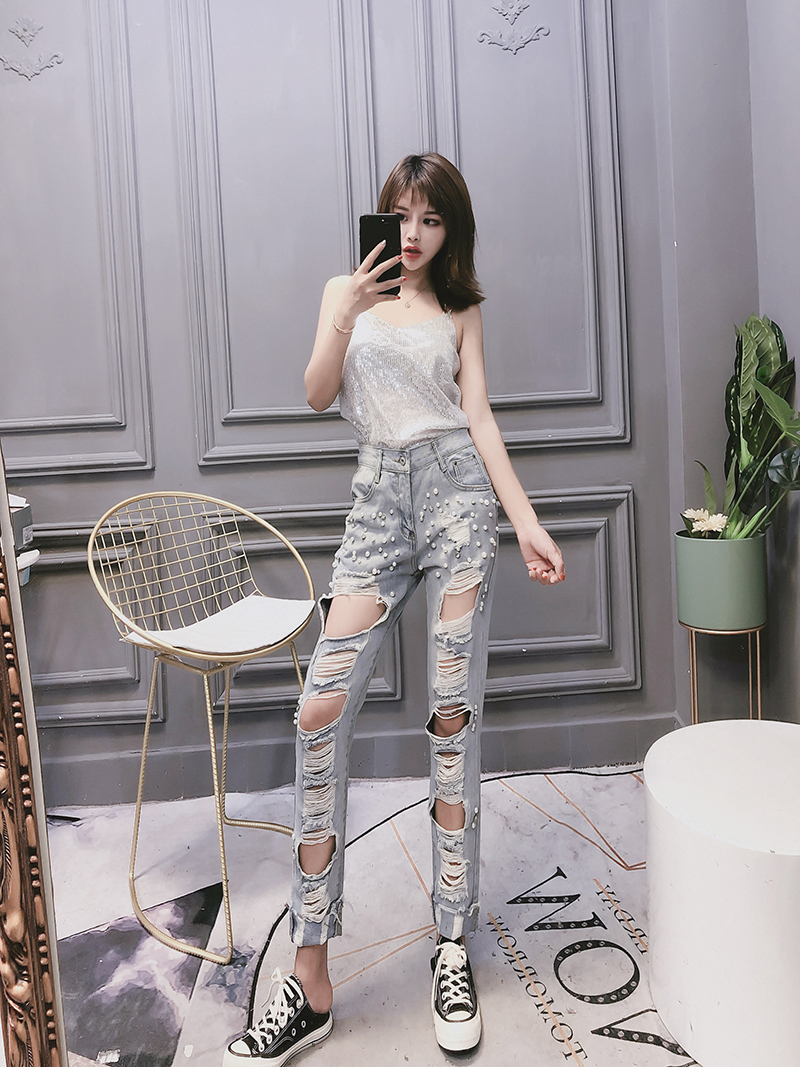 2020 Womens Spring Summer New Jeans  Female Fashional Hole Jeans Pearl Nail Beads Leisure Joker jeans Hip Hop