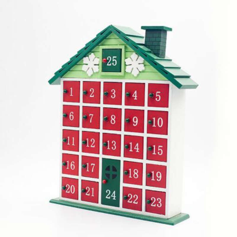 Christmas Wooden Countdown Calendar Painted Christmas House Calendar Candy Gift Storage Box Home Decoration Drawer Rack