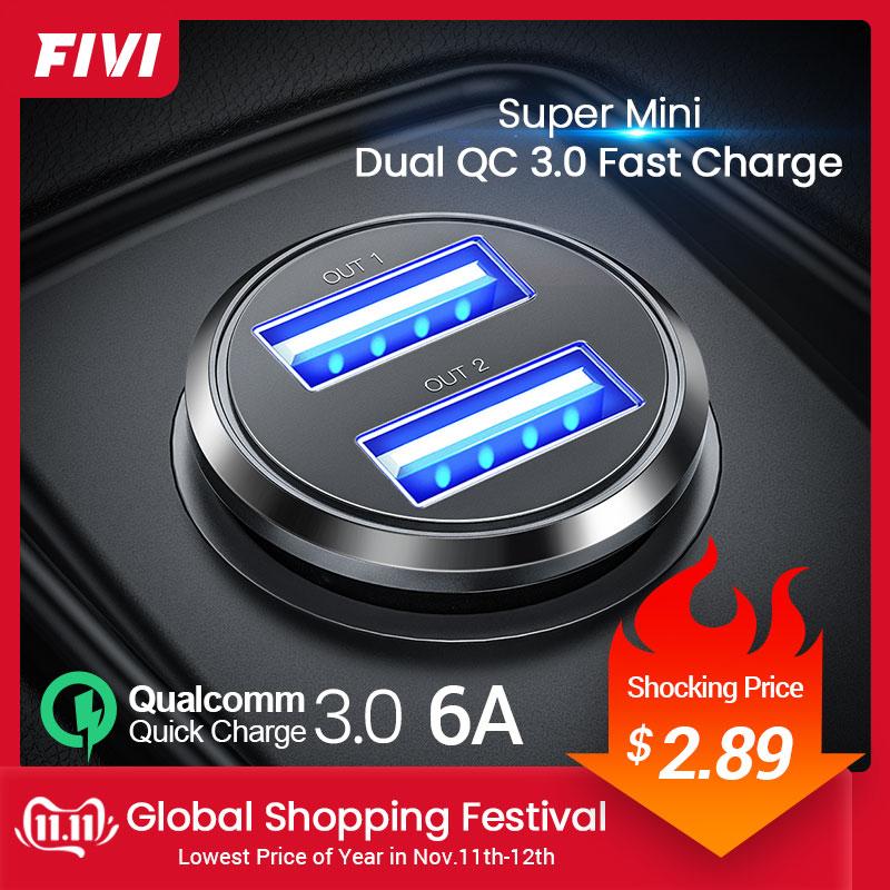 FIVI металл USB Автомобильное Зарядное устройство для huawei Xiaomi 3.1A мини быстро Зарядное устройство автомобиля Зарядное устройство двойной заряд...