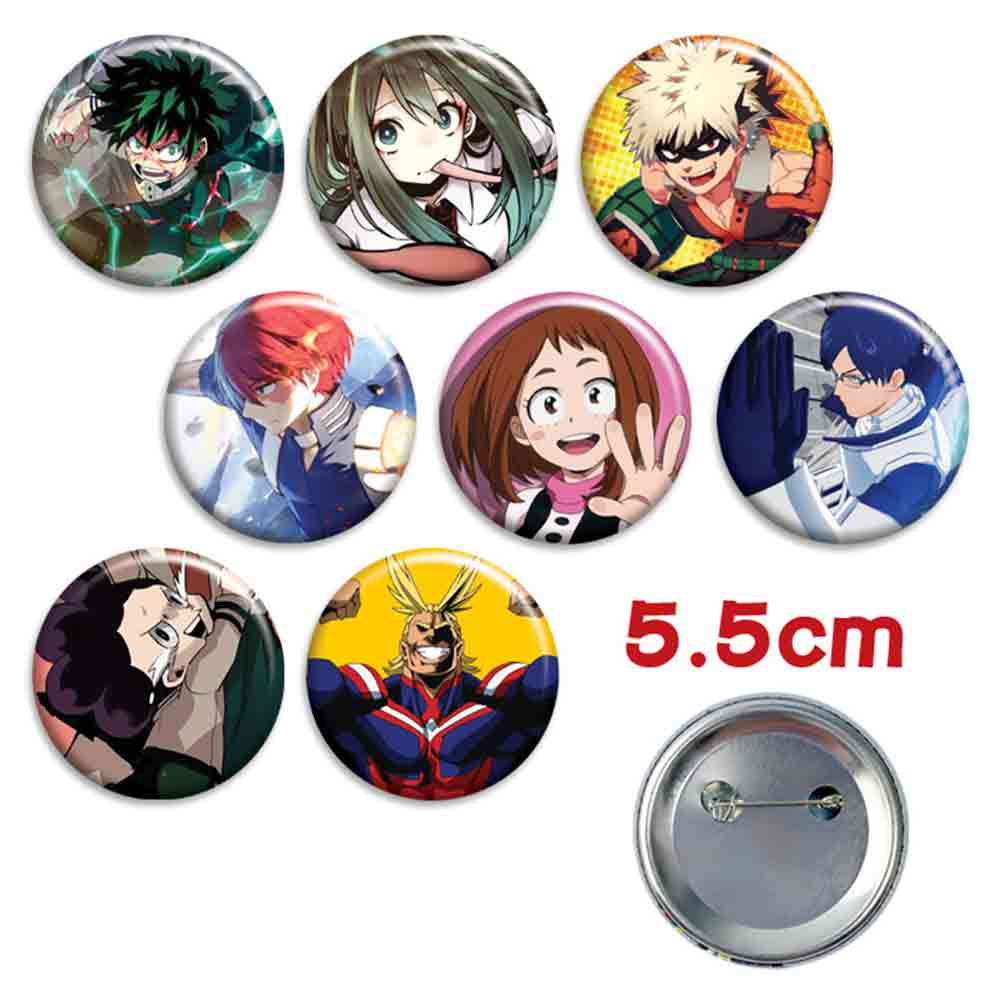 8PCS/Set Anime Badge Boku No Hero Academia Pin Button Brooch Badge
