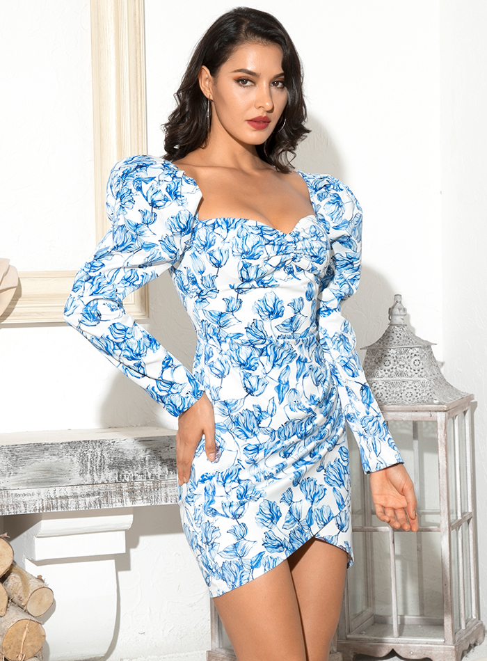 LOVE&LEMONADE Sexy Tube Top Blue Flower Vine Print Puff Sleeve Cross Bodycon Party Mini Dress LM81982-1 4