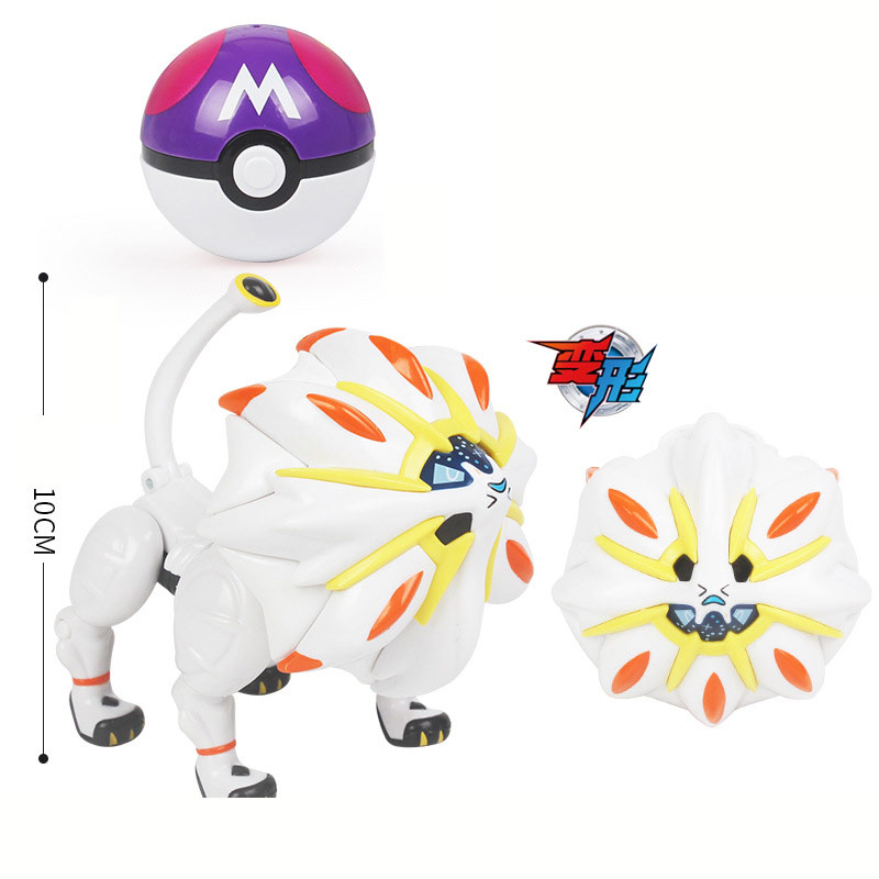 Pokemone Sun Moon Deformation Poke Action Figure Anime Toys Transformation Mewtwo Solgaleo Lunala Model Gift Toys For Childrens