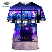 Printed T-Shirt Bowling Clothing Sportswear Tops Short-Sleeve Summer Fashion 3D Casual