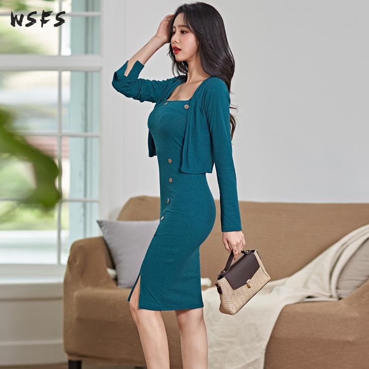 2 Pieces Set Women Autumn Dress Knitted Coat Top Blouses Blue Slip Dress Sexy Party Big Size Bodycon Bandage Office Lady Clothes