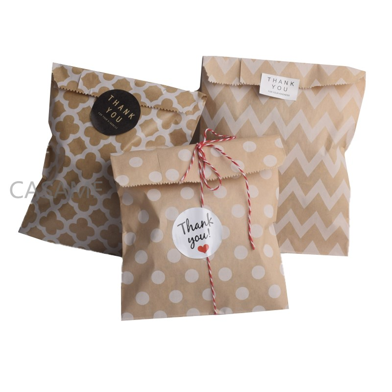 Paper-Bags Favors-Supplies Chevron-Polka-Dot Christmas-Wedding Birthday-Party New-Year title=