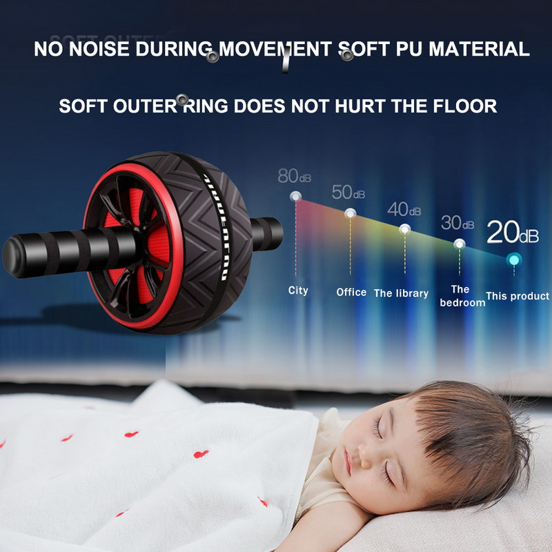 Human - Best Large Silent Abdominal Wheel Roller Trainer Fitness Equipment Gym Indoor Home Exercise Body Building ABS Roller