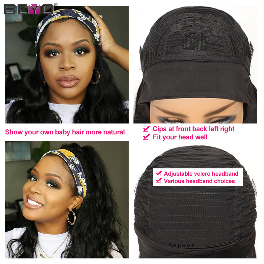 Body Wave Headband Wig Human Hair Wigs For Black Women Remy Hair Scarf Wig Full Machine Made Wig Body Wave Wig With Headband