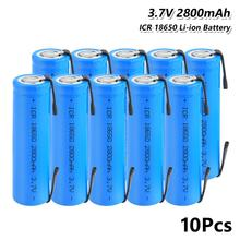 3.7V 2800mAh Li-ion ICR 18650 Rechargeable Battery With Soldering Tabs For LED Flashlight