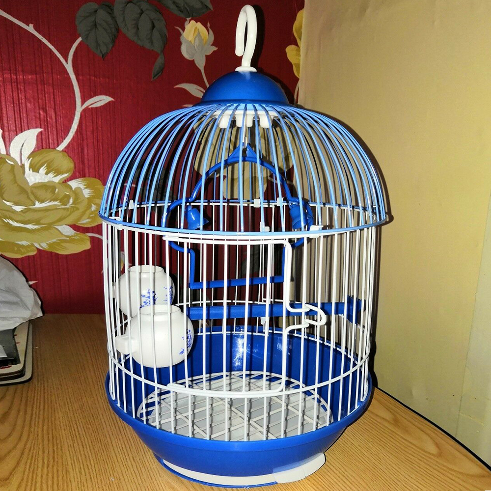 Round Bird Cage Small Parrot Carry Show Cage Universal Canary Cage New