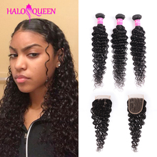 HALOQUEEN Deep-Wave-Bundles Hair-Extension Closure Peruvian