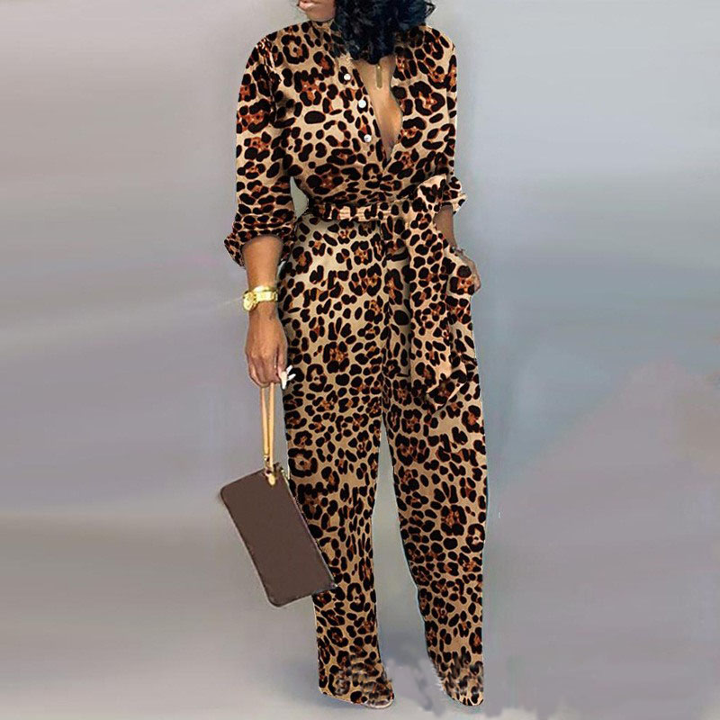 Sexy Leopard Print Jumpsuit Deep V Neck Women Long Sleeve Sashes Romper Turn Down Collar Overalls Pencil Pants Outfits 2019