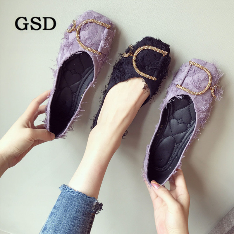Women Shoes Flats Toe-Ballet Soft-Bottom Big-Size Casual New-Fashion Square Crystal-Design title=