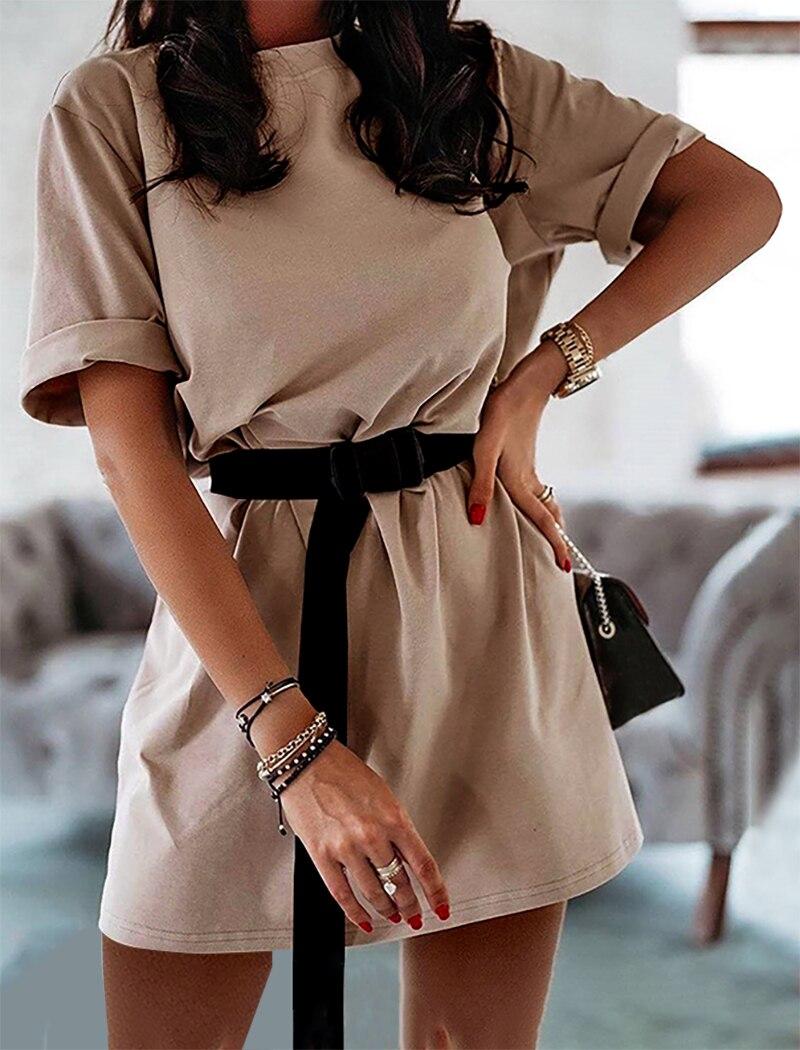 Fashion Women Dropped Shoulder Sleeve Printed Casual Loose Mini T-shirt Dress