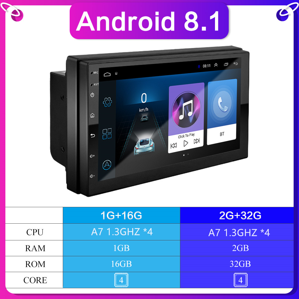 Android-8.1 GPS Radio-Player Navigation Video-Stereo Bluetooth Car Universal 7inch Car title=