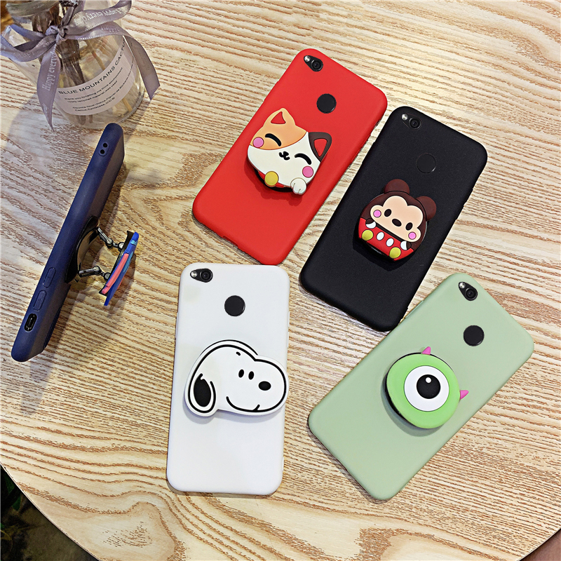 3D Silicone Cartoon Phone Holder Case For Xiaomi Redmi 4X 4A 5A 6A 7 6 Pro 7A Plus S2 Girl Cute Stand Covers Protective