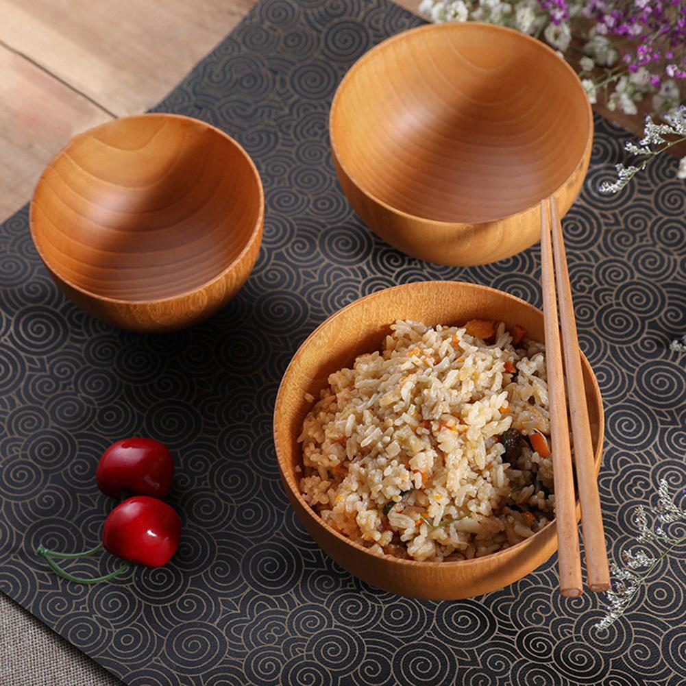 Wooden Rice Soup Bowls Japanese Style Salad Fruit Snack Bowl Food Container