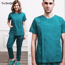 Scrub-Uniform Workwear Women-Sets Beauty Salon Short-Sleeve Pet Grooming V-Neck Health-Service