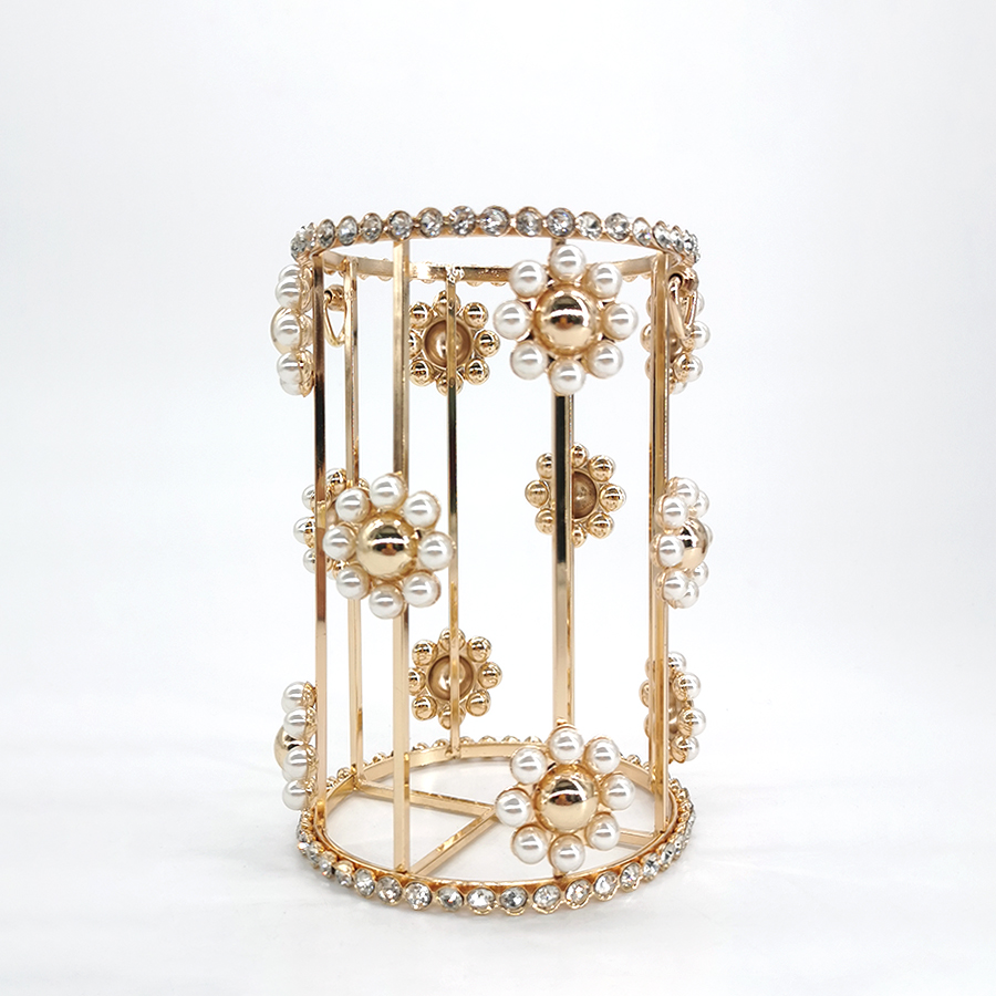 Flower Rhinestone Evening Clutch Women New Luxury Pearl Velvet Party Small Bucket Purses And Handbags Crossbody Gold Metal Cage