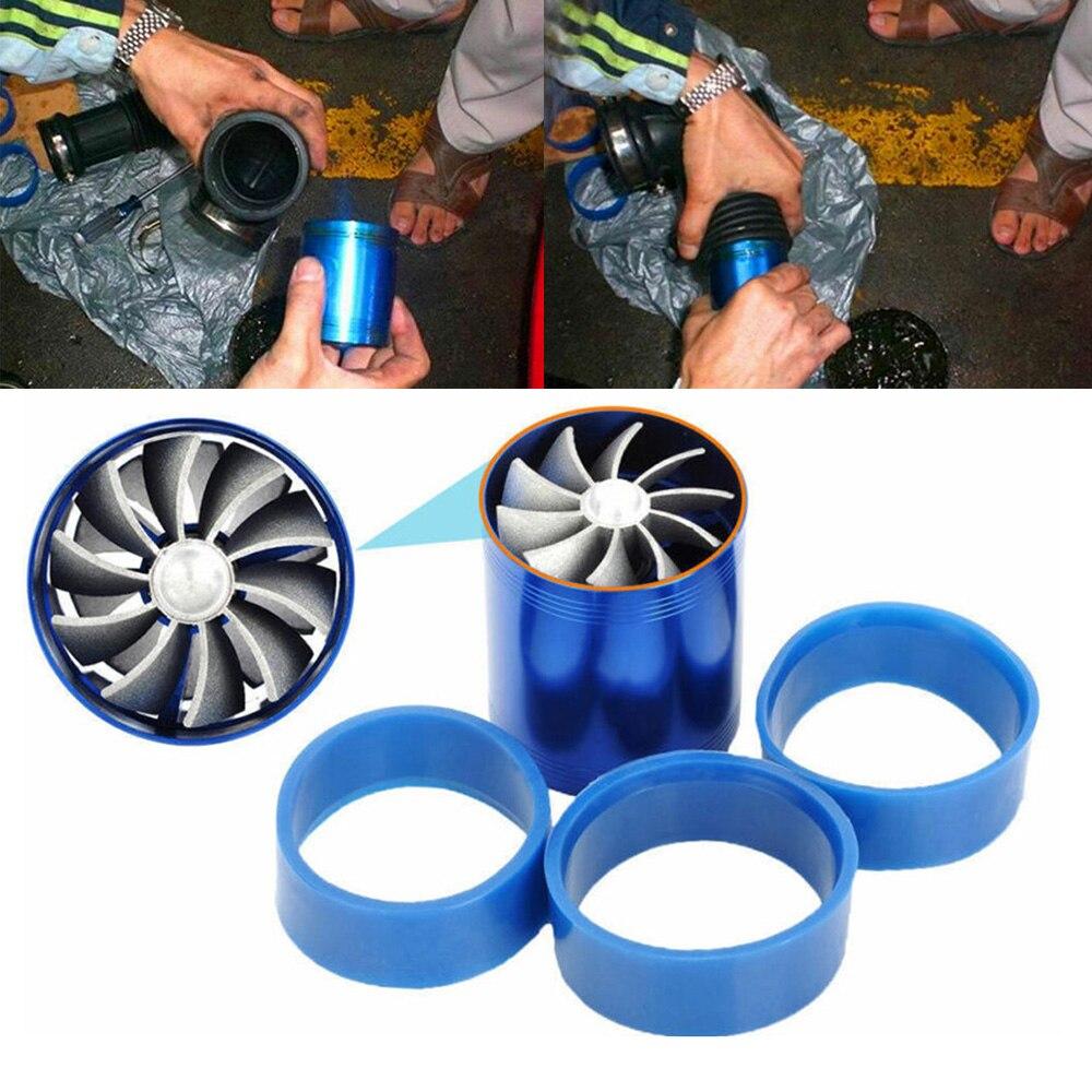 Color : Blue Turbocharger Fan Supercharger Power Air Intake Turbonator Dual Fan Turbine Gas Fuel Saver Turbo
